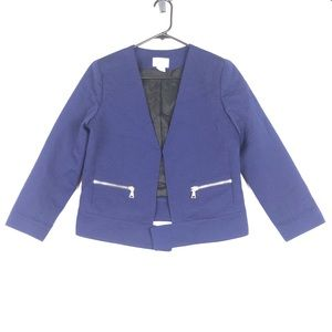 Club Monaco crop boucle jacket royal blue lined
